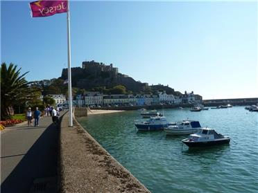 Mont Orgueil Castle from the coastal walkway.