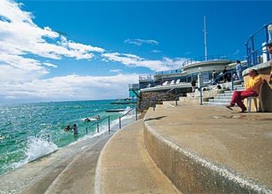 The Vicorian sea water swimming pool at Havre Des Pas is a short stroll.  The closest beach is 200 metres away
