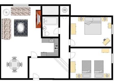 Apartment layout example for the themed apartments