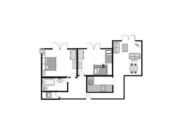 Example Courtyard 2 bedroom Flor Plan