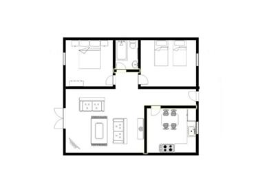 Pugin apartments are sometimes split level.  This is the all ground floor level layout.