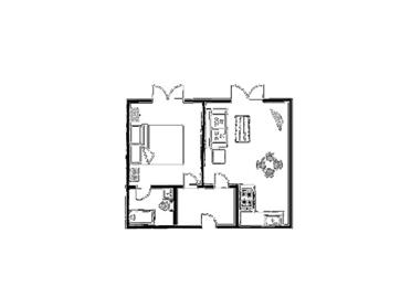 Example 1 bedroom floor plan