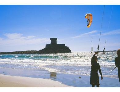 St Ouen's bay and the kite flyers!