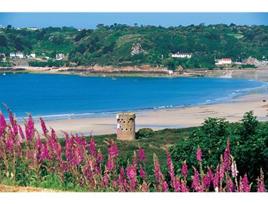 This is the view from Ouaisne headland to St Brelade