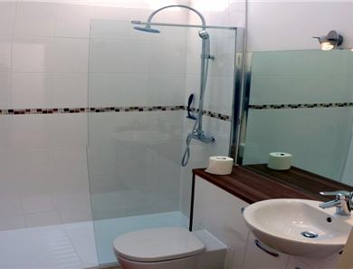Apartment 4 shower room ~ yes the image is stretched a bit to get it in the frame!