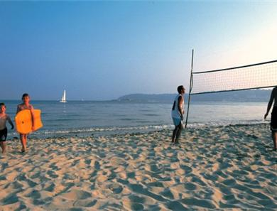 Volley ball is available 12 minutes walk from St Aubin.  Ideal for a sunset game for the active.