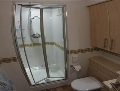 This is a somewhat morphed image of the shower room to try and give you an idea of the modern style