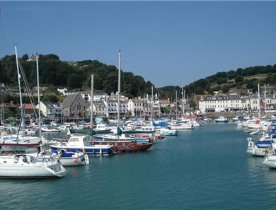 The marina at St Aubin's which also has a choice of 2 beaches