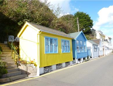 Beach huts are a rarity in Jersey and these bright examples in Rozel Bay are a delight