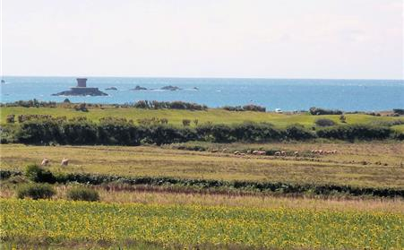 View across the fields to Le Braye and St Ouens Bay